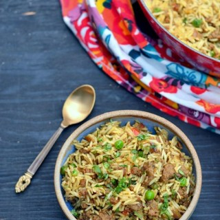 Keema Biryani - Biryani with Grount Lamb and Peas - www.cookingcurries.com