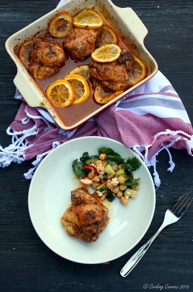 Mediterranean Spiced Lemon Roasted Chicken - Quick and Easy One Pot Recipe - www.cookingcurries.com