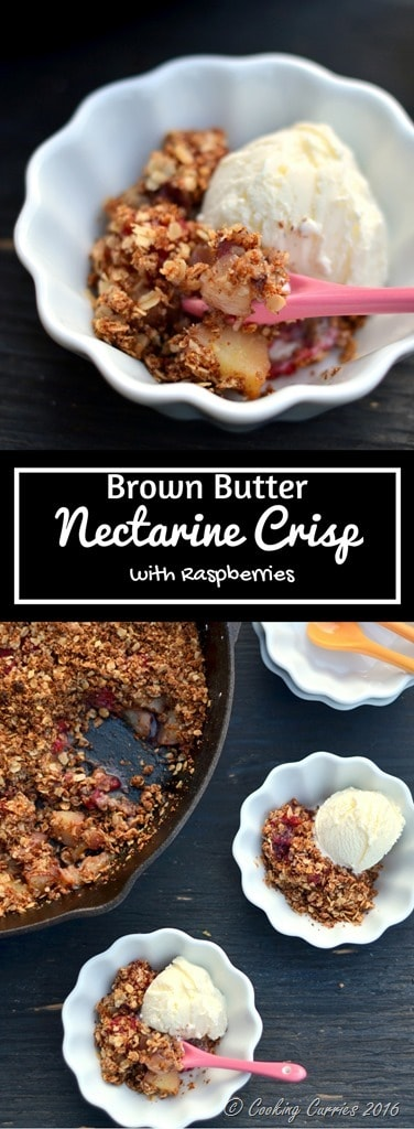 Brown Butter Nectarine Crisp with Raspberries - FoodieMamas - www.cookingcurries.com (8)