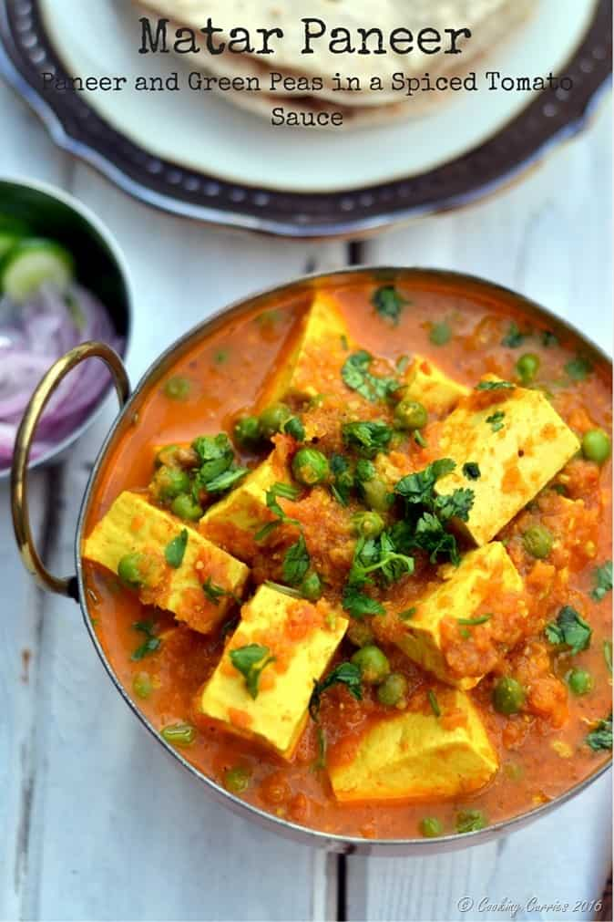 Matar Paneer - Paneer and Green Peas in a Spiced Tomato Sauce - www.cookingcurries.com
