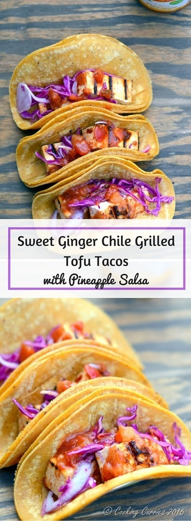 Sweet Ginger Chile Grilled Tofu Tacos with Pineapple Salsa and Pickled Onions and Cabbage - Vegetarian Tacos www.cookingcurries.com