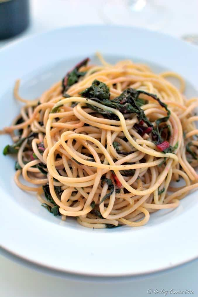 Spaghetti with Red Chard and Pearl Onions - Vegan, Can be Made Gluten Free - www.cookingcurries.com (2)