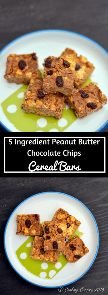 5 Ingredient Peanut Butter Chocolate Chips Cereal Bars - Little People Food - www.cookingcurries.com