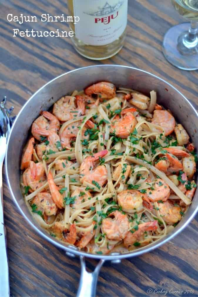 Cajun Shrimp Fettuccine - Easy Weeknight Dinner - www.cookingcurries.com