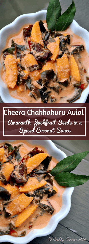 Cheera Chakkakuru Avial - Amaranth Jackfruit Seeds in a Spiced Coconut Sauce - Kerala Onam Vishu Sadya - www.cookingcuries.com