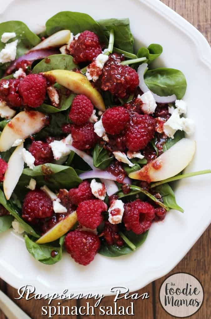 Raspberry Pear Spinach salad 850x1275 Foodie Mamas
