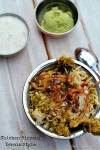 Chicken Biryani with Biryani Chammanthi (Coconut Mint Cilantro Dry Chutney )