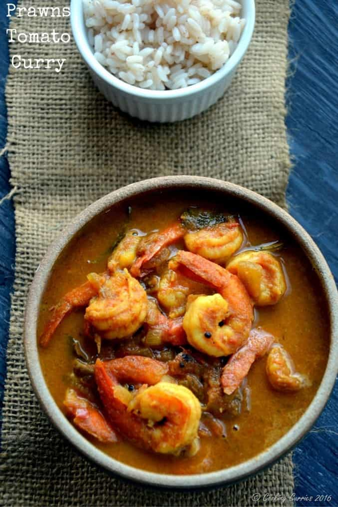 Kerala Style Prawns Tomato Curry - Shrimp Tomato Curry