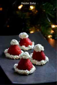 Santa Hats with Strawberries and Whipped Cream