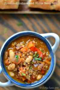 Sprouted Quinoa and White Bean Soup { Vegan }