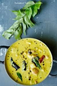 Cucumber Tomato Pulisseri  –  Cucumber and Tomato Yogurt Curry