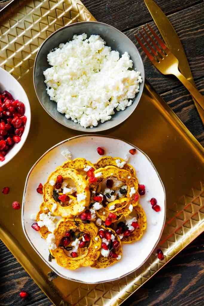 Roasted Delicata Squash with Goat Cheese and Pomegranate