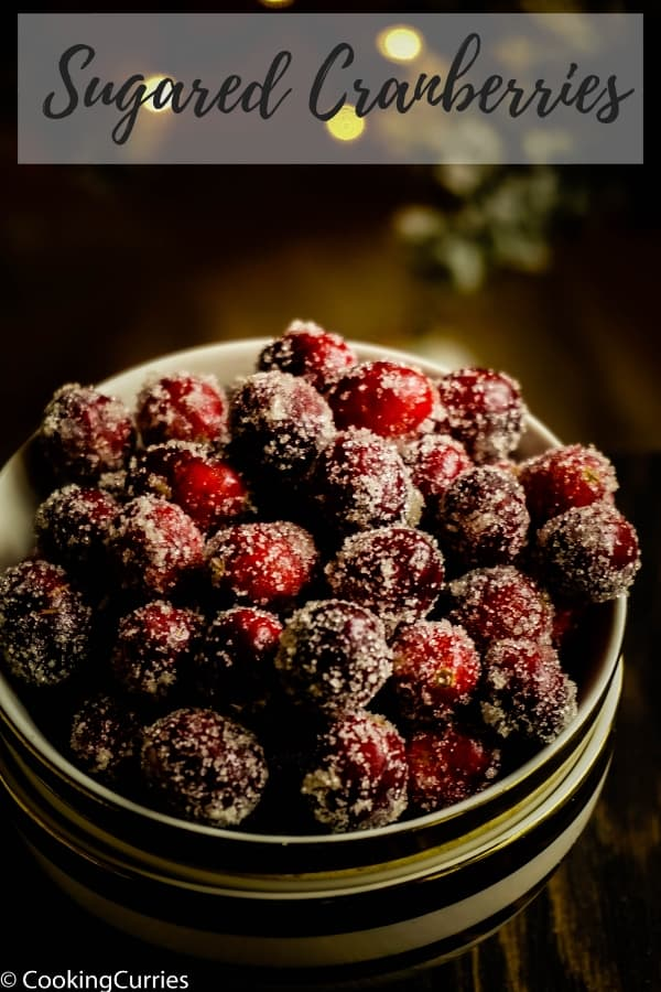 Not only do they look pretty to top your holiday drinks and desserts with, these Sugared Cranberries taste delicious too! You can just put them out as a snack for your holiday party! #Happyholidays #holidayentertaining #partyready