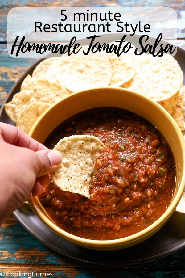 Make restaurant style homemade tomato salsa in under 5 minutes, with this easy recipe. All you need is some chips to dip in and a glass of nice cold margarita! #appetizer #partyfood #dips #gameday #tailgate #SuperBowl #SuperBowlFood