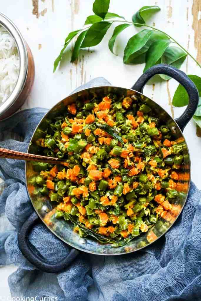 Instant Pot Carrot and Beans Thoran - Kerala Sadya Recipe