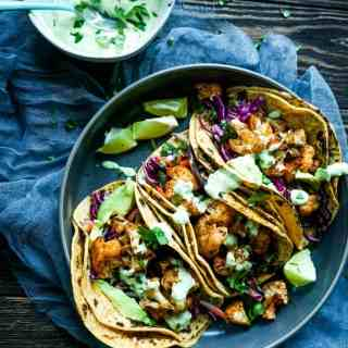 Roasted Cauliflower Tacos with Avocado Cream Sauce