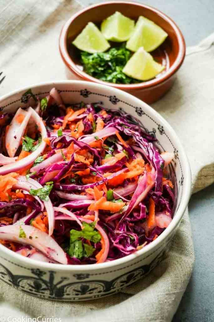 Purple Cabbage, Onion, Carrot Coleslaw with lime, salt and pepper