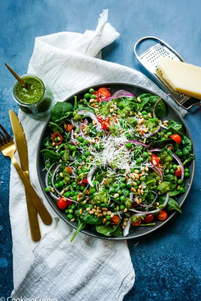 Spinach and Pea Salad with Fresh Basil Walnut Pesto