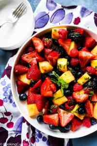 Summer Fruit Salad with Honey Lime Mint Dressing