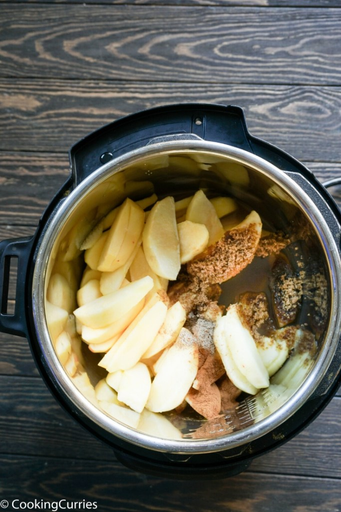 Top shot of all ingredients for Cinnamon Apples in the Instant Pot