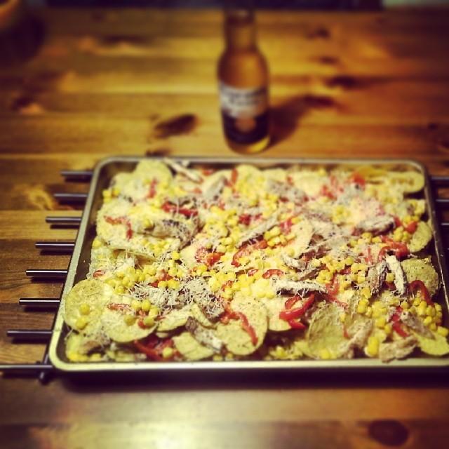 Nachos met kip en Paprika