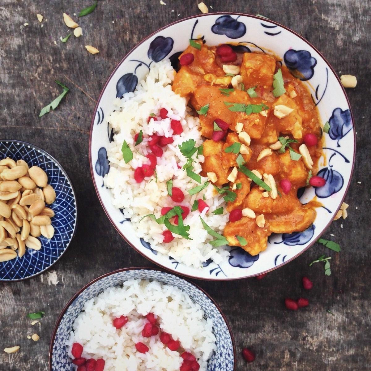 Kip en pompoen curry met rijst