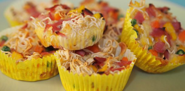 Five Ingredient Ham, Vegetable and Noodle Cups