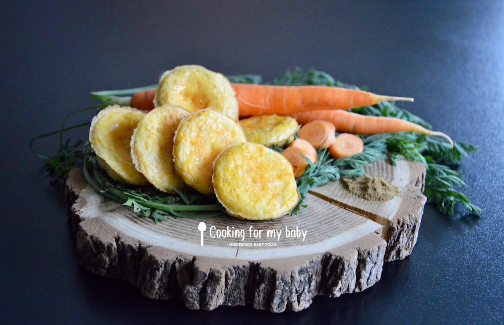 recette de mini omelettes aux carottes et cumin pour bebe des 12 mois