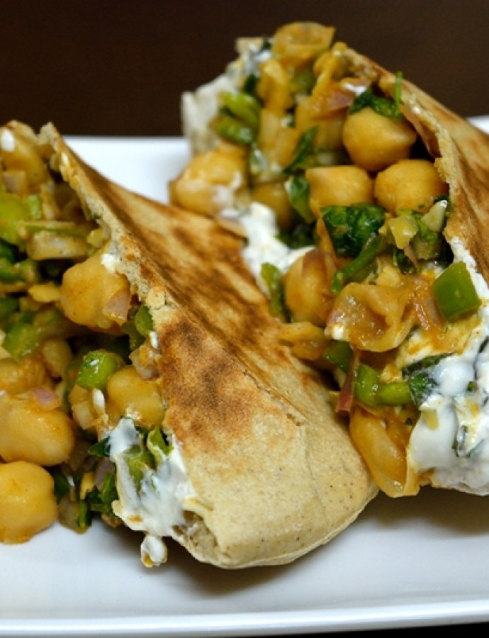 Greek Style Chickpea Salad Pita Pockets with Mint Yogurt Spread