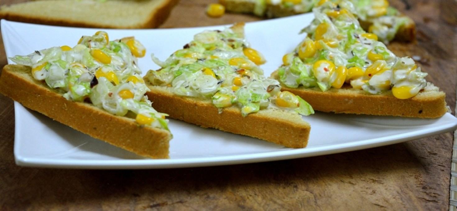 Sweetcorn Lettuce Open Sandwiches