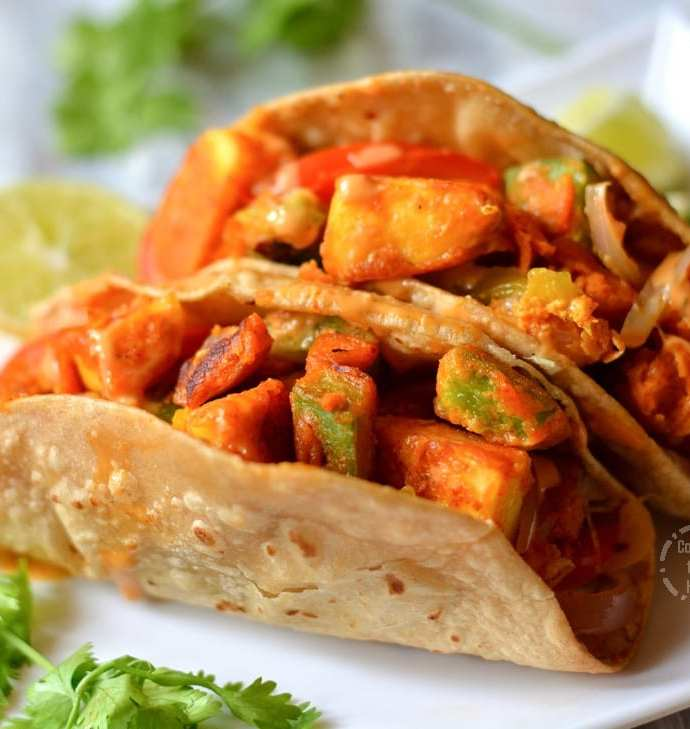 Homemade Whole Wheat Paneer Tikka Tacos