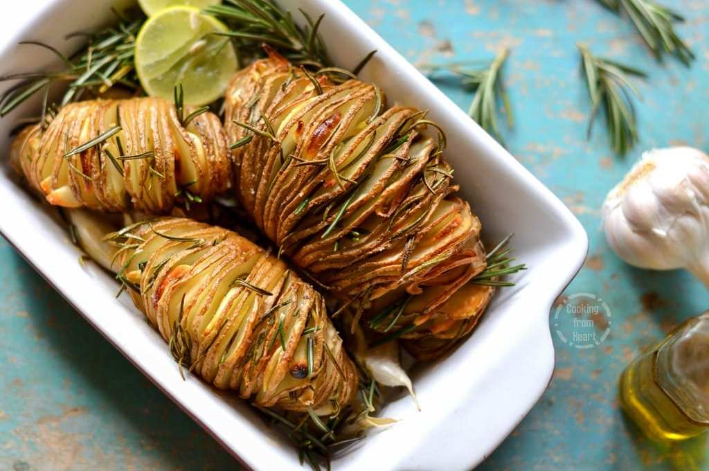 Hasselback Potatoes with Rosemary, Garlic and Lemon