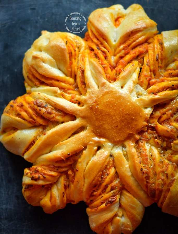Eggless Cheesy Brioche Flower Bread