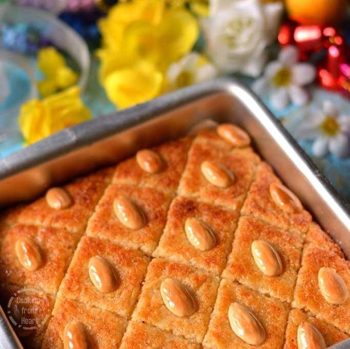 Eggless Basbousa | Eggfree Semolina Coconut Cake