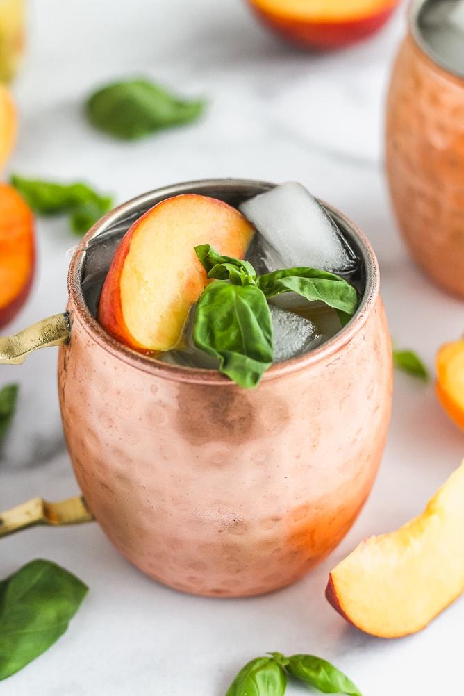 Peach Basil Wine Spritzer | cookinginmygenes.com