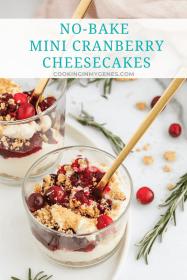 No-Bake Mini Cranberry Cheesecakes