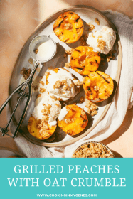 Grilled Peaches with Oat Crumble & Vanilla Ice Cream