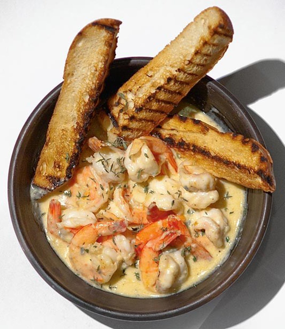 Shrimp in gorgonzola