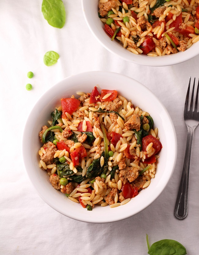 Easy orzo with sausage and vegetables