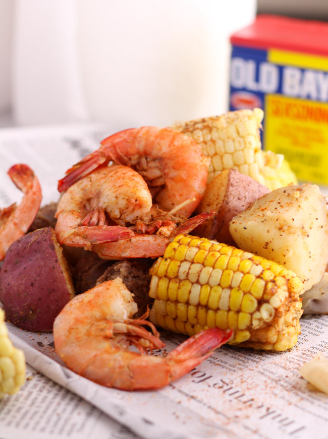 Old Bay Shrimp Boil on Newspaper