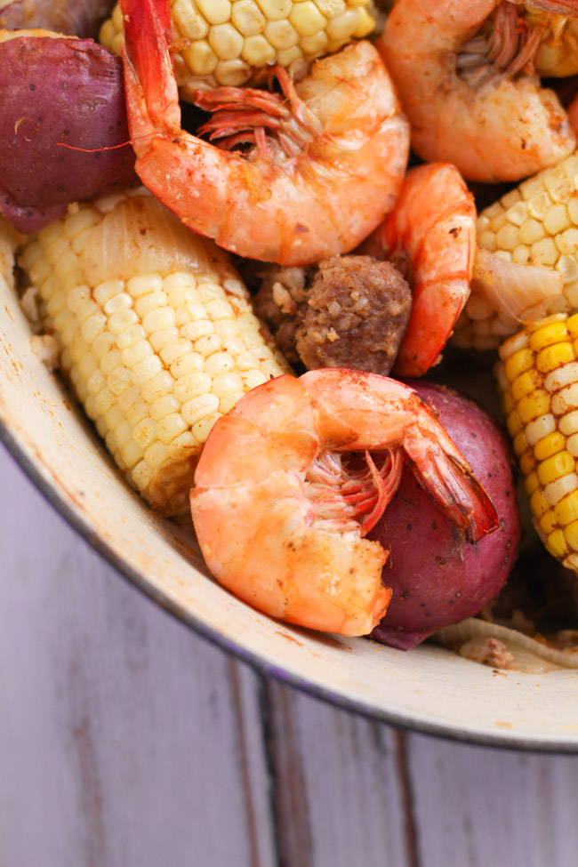 Old Bay shrimp boil with corn, potatoes, and sausage
