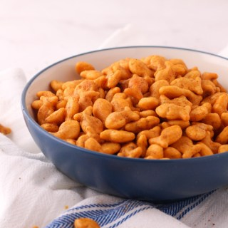 Simple old bay goldfish crackers in a bowl