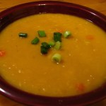 Yellow vegetarian split pea soup.
