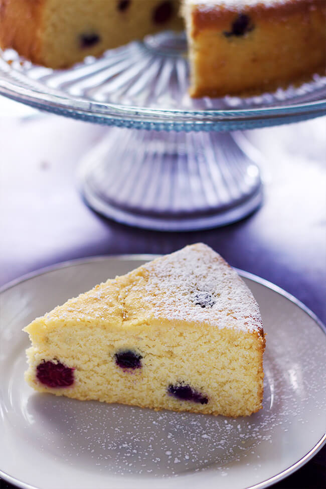 This lemon berry cornmeal cake recipe is the perfect in every way. It is moist, flavorful and light.