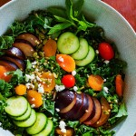 Minty Kale Plum Salad is the perfect end of winter salad. It is bright, herby and jam-packed with different flavors and textures. It can go with any dressing for a easy addition to any meal.