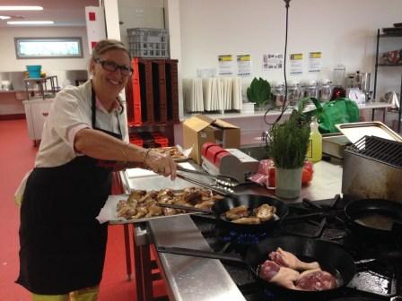 Jill cooking duck