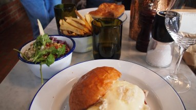 Lunch - pork belly burger, salad and chips