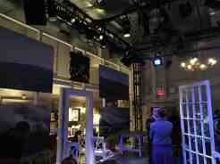 Looking into the dressing room, one end of the theater area.