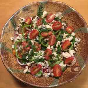 Greek Tomato Salad, in a bowl by Bandana Pottery.