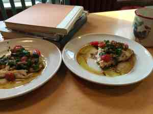 Spilit a pound of fish into three portions of Broiled Red Snapper Fillet with Garlic Sauce. Here are two portions.